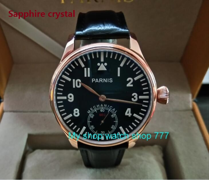 Sapphire crystal Blue luminous 44mm parnis Black dial 6498 / ST3621 Mechanical Hand Wind movement men's watches 318A blue luminous 44mm parnis 6498 st3621 mechanical hand wind movement men s watches sapphire crystal mechanical watches 0015