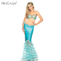 Sexy Beach Mermaid Dress Halloween Cosplay Costume Princess Disguise Party Stage Show Jumpsuit Women Fantasy Sequins Lucency