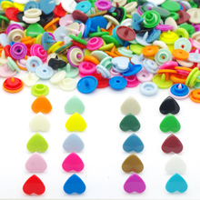 { 10 Colors mixed 100sets } KAM Brand Heart Shaped Plastic Snap Button Fastener buttons For Baby Diaper 10sets each