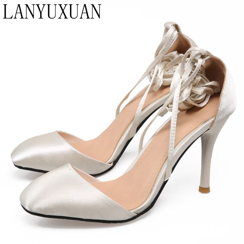 LANYUXUAN 2017 Sale Fashion Sapato Feminino Big Size 34- 45 Sandals Ladies Lady Fashion Shoes High Heel Women Pumps T709