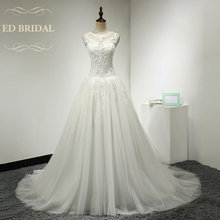 A Line Tulle Wedding Dress with Venice Lace Appliques See Through Backless Wedding Gown with Buttons over Lace China Bridal