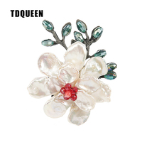 TDQUEEN Baroque Pearl Flower Brooches Women Corsage Broches Antique Silver Plated Metal Scarf Pin Wedding Dress