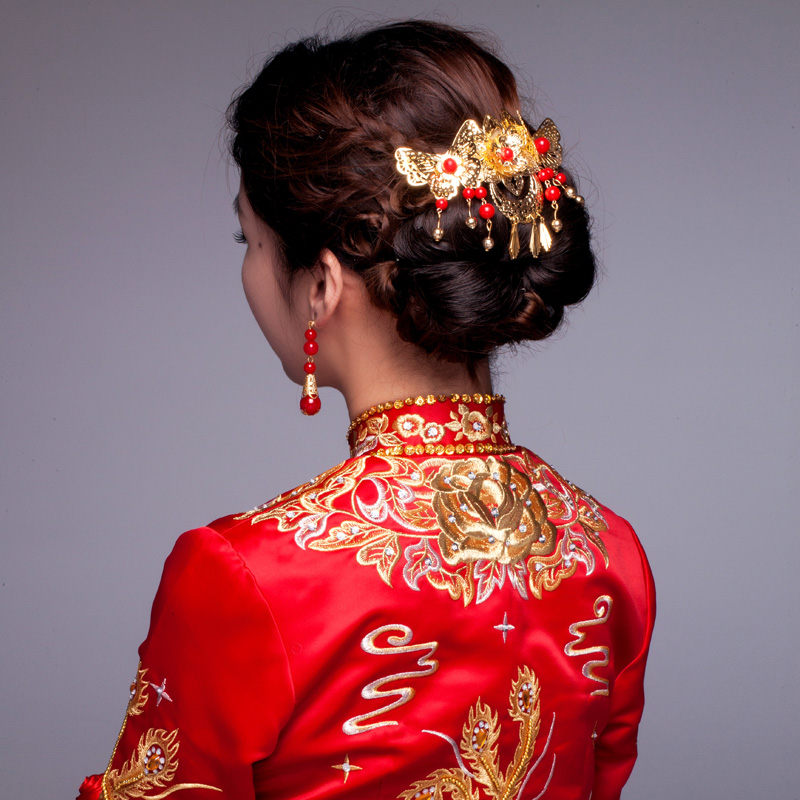 Wedding Hairstyles Chinese: Chinese Traditional Bridal Jewelry Golden Imitation Pearls