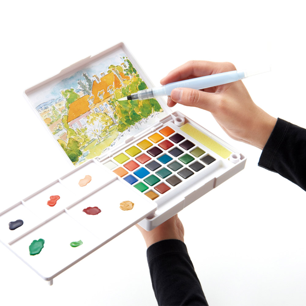 Sakura 18/24/30/36 Watercolor Paints Box With Paintbrush Portable Solid Watercolor Paint Set For Drawing Painting Supplies sakura 18 24 30 colors watercolour paint box portable solid petit watercolor paint set outdoor art drawing painting supplies