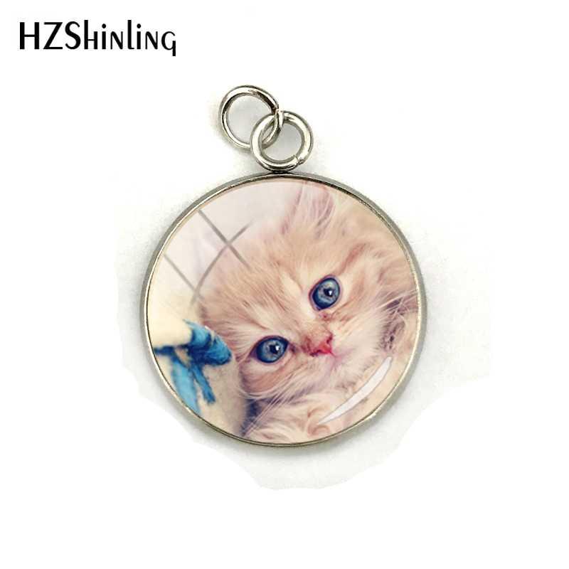 Прекрасный животных Кошки мультфильм кошки стеклянный круглый кабошон фотографии ювелирные подвески ручной кулон ручной работы аксессуары Подарки для любителей животных