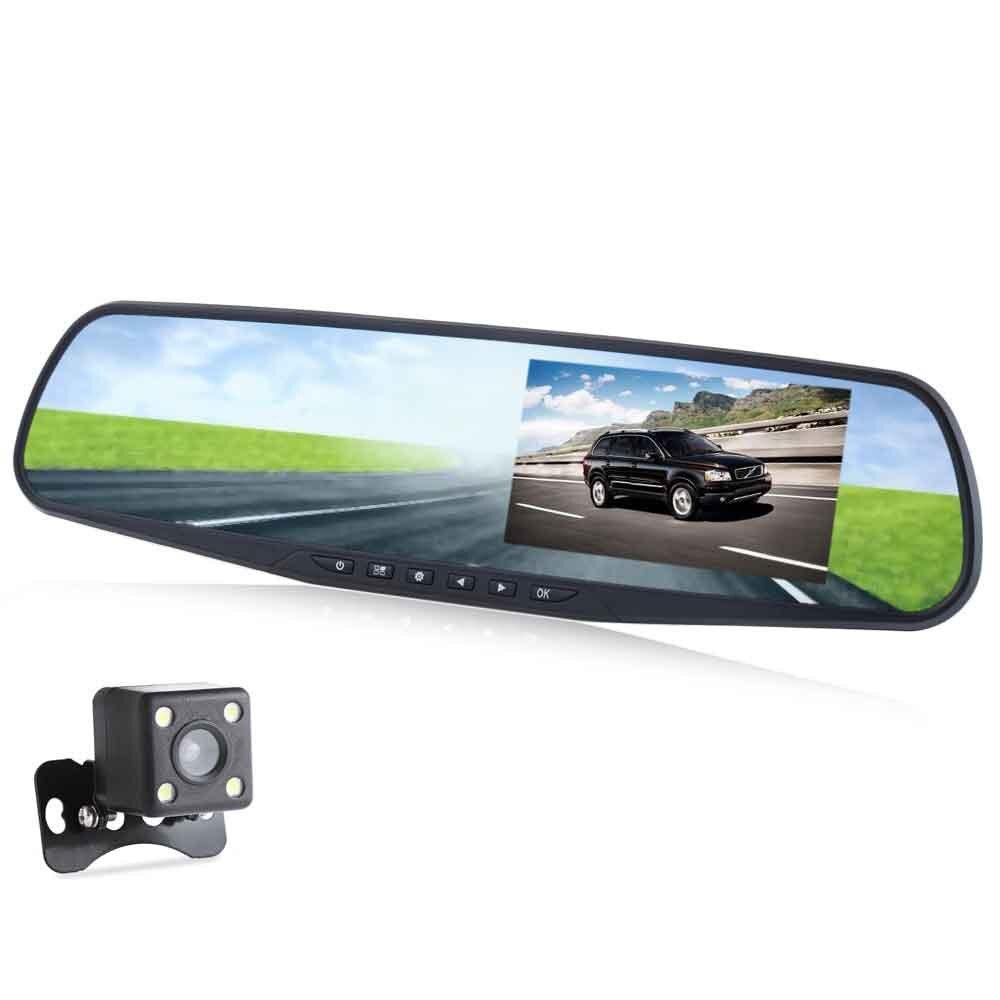 Voiture DVR + Vue Arrière Caméra 4.3 Pouce 1080 P Full HD arrière-vue Miroir Nuit Vision Double Lentille Véhicule Enregistreur de Données de Mouvement détection