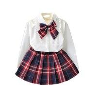 女の子服白ブラウスチェック柄スカート2ピース子供スーツ用スクールファッション春夏2 3 4 5 6年子供服セッ