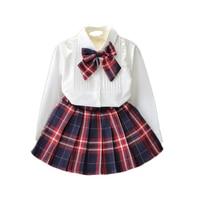 Classic Plaid Girls Clothing Sets White Blouse Skirt 2pc Set Children Clothing Gilrs Set Spring Sweet