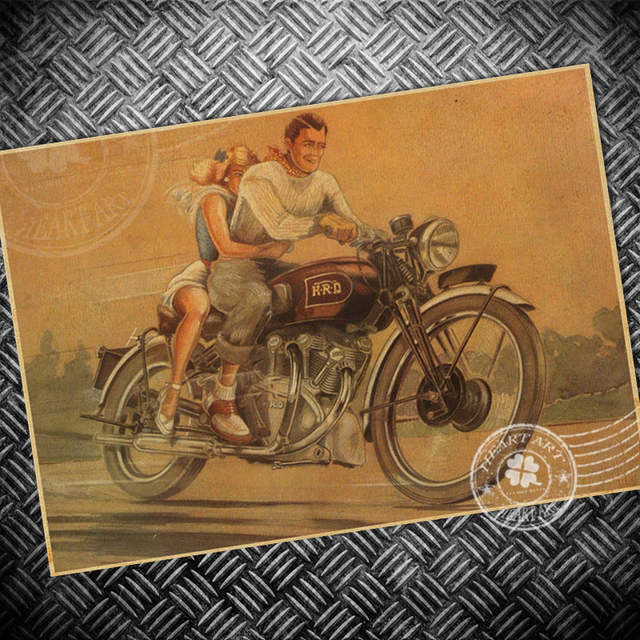 Retro Route 66 Motorcycle Picture Vintage Poster Old Print Picture