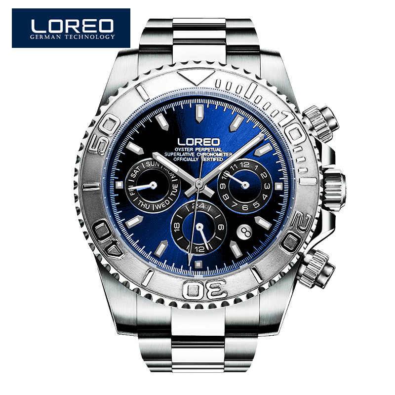 200 メートル防水ダイバーウォッチラグジュアリーブランド LOREO ハイエンド自動腕時計ミラー発光カレンダー週月 24 時間