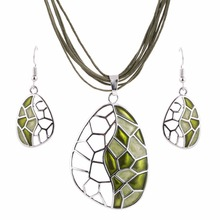 ZOSHI Jewelry Sets Handmade Gem Statement Silver Plated Necklace Earrings Set Bijoux Femme Party Jewellery Accessory Jewelry Set