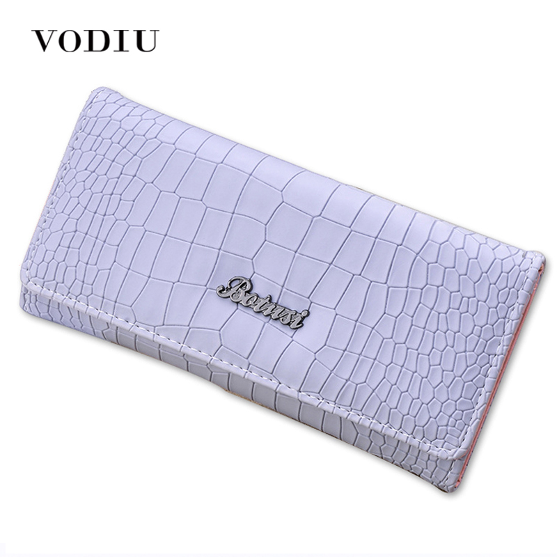 2017 Minimalist Brand Crocodile Leather Women Trifold Long Wallet Female Clutch Ladies Purse Credit Card Coin Holder Portomonee