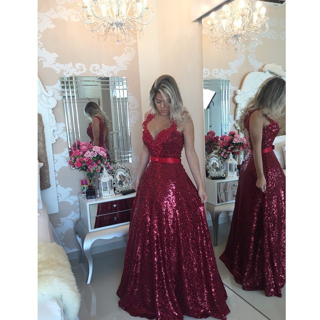 Elegant Evening Dresses Untuk Wanita Hamil Gaun Pesta Berpayet V