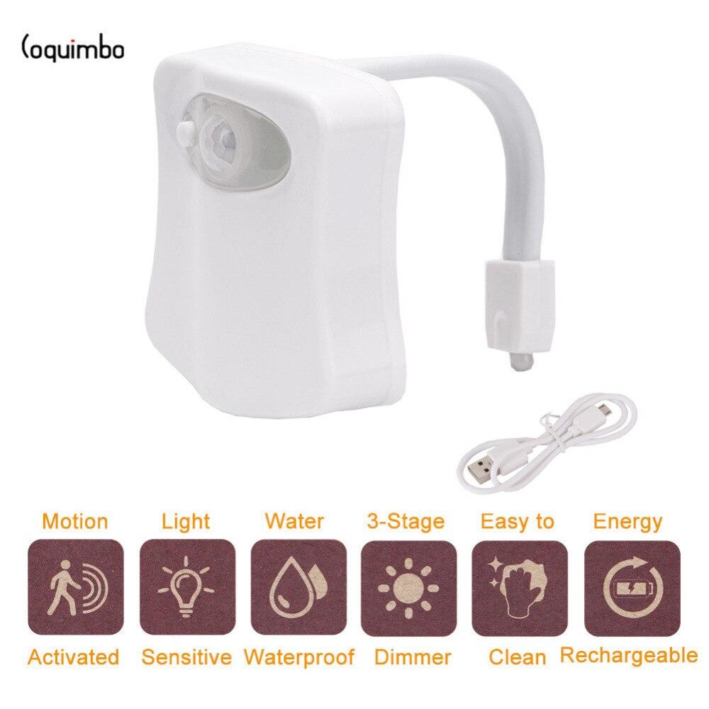 Coquimbo USB Wiederaufladbare 8 Farben Motion Sensor Wc Licht Gebaut In 16340 Batterie Licht Empfindliche Hintergrundbeleuchtung Für Toilettenschüssel