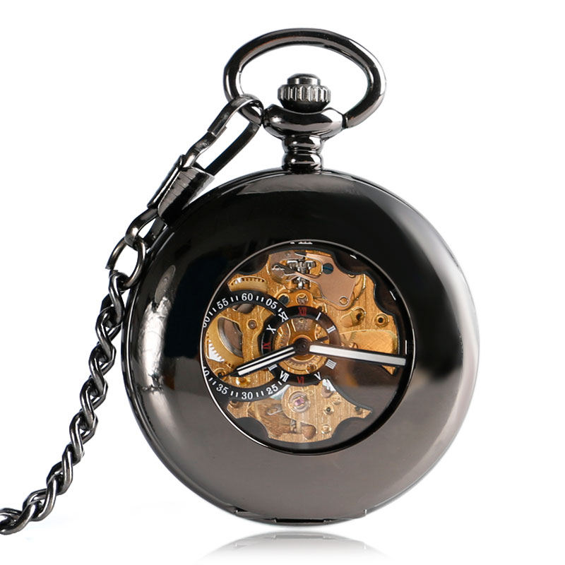 New Cool Hollow Black Smooth Case Skeleton Roman Number Self-wind Mechanical Pocket Watch Steampunk Fob Watches With Chain