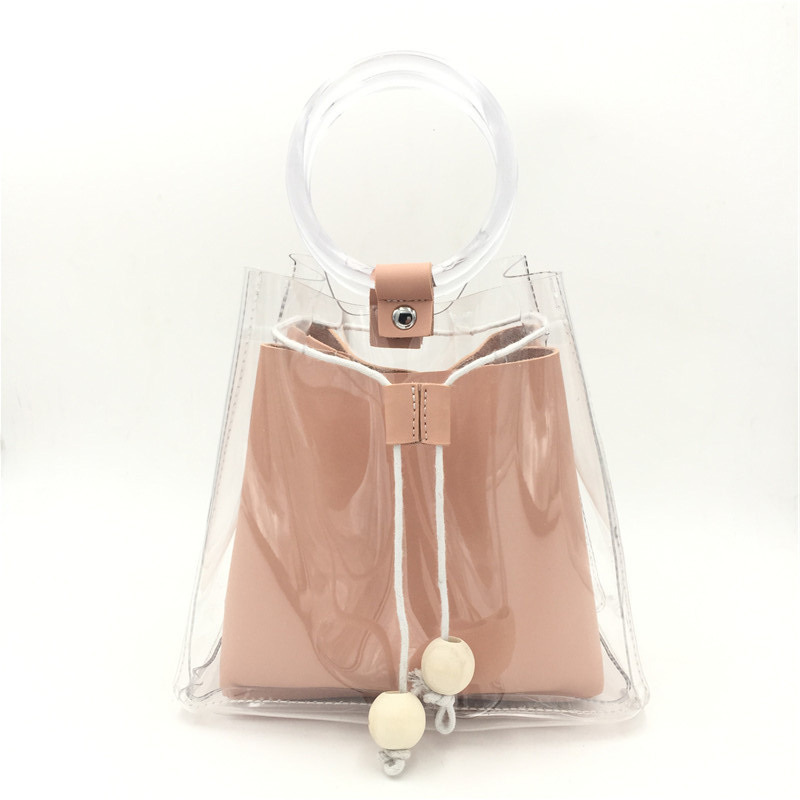 2018 Real Female Summer Transparent Bucket Bag New Plastic Jelly Handbag Simple Wome Messenger Single Shoulder Package 2pcs T4
