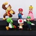 6 unids/set Super Mario Bros Mario Luigi melocotón Yoshi King Kong Toad figura de acción juguetes PVC 4 - 6 cm regalos de los niños