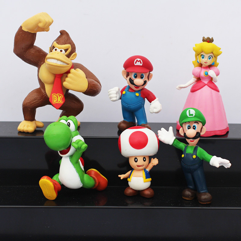 6pcs/set Super Mario Bros Mario Luigi Peach Yoshi King Kong Toad Action Figure PVC Toys 4-6cm Kids Gifts цена