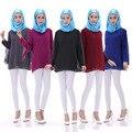 Nueva Moda Mujer Tops Ropa Musulmán Islámico Musulmán Gasa Trajes de Damas de Manga Larga de Ropa 5 Colores Disponibles