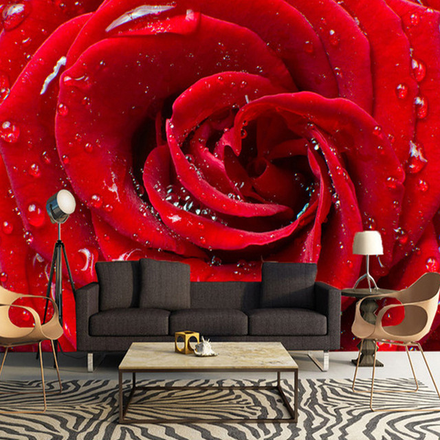 Modern Red Rose Water Drop 3D Wall Cloth Wallpaper Living Room Wedding House Backdrop Covering