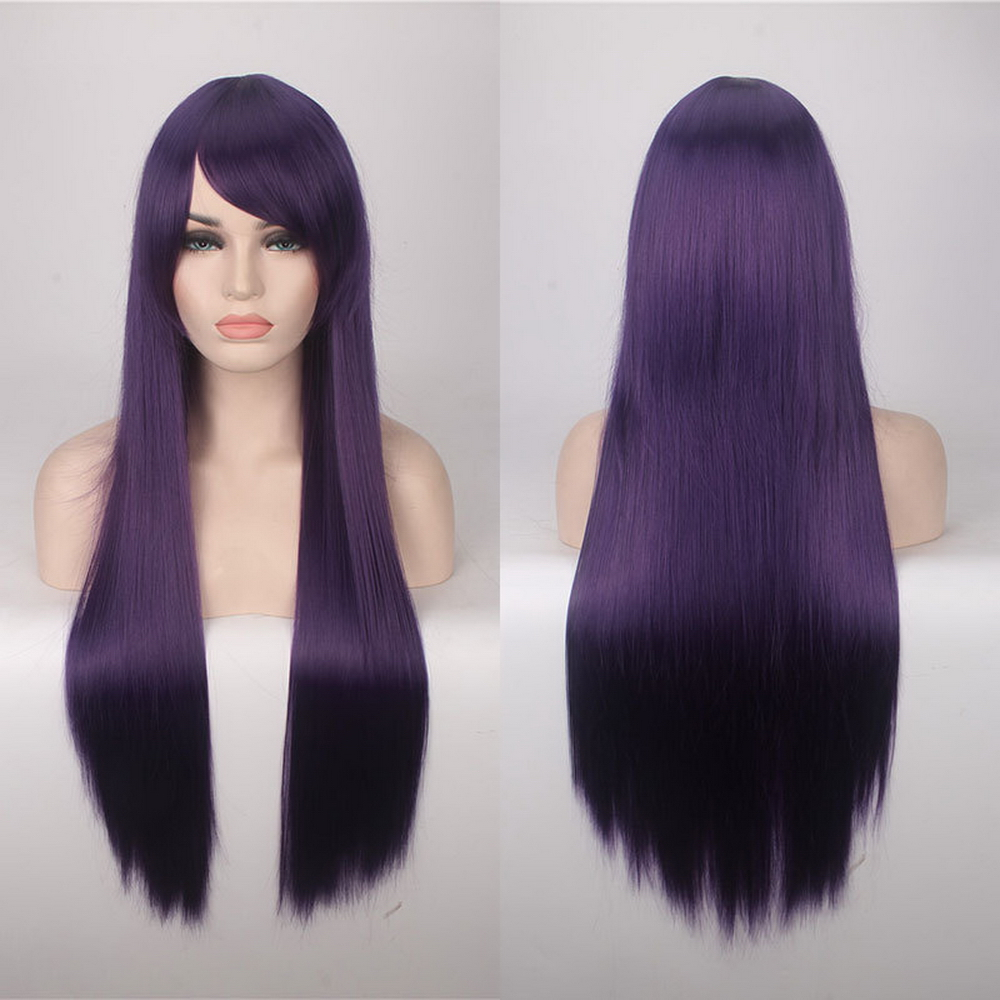 80cm Cheap Long Straight Wig Red Blue Green Purple Black Blonde Hair Wigs For Women Heat Resistant Synthetic Anime Cosplay Hair