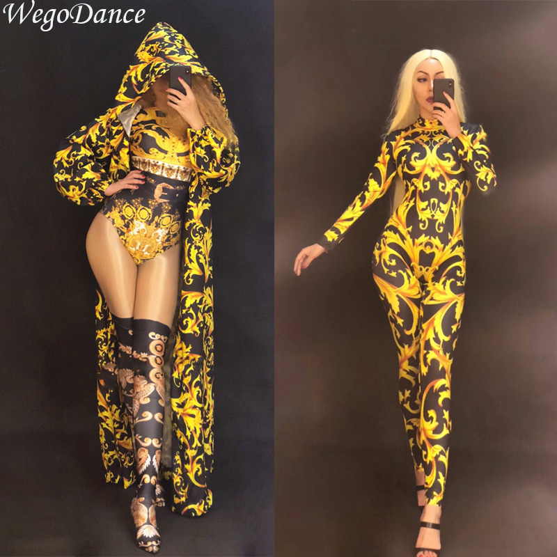 New Sexy Women Stage Gold Jumpsuit Coat 3D Print Bodysuit Nightclub Party Dancer Singer Stage Wear Singer Costume For Woman