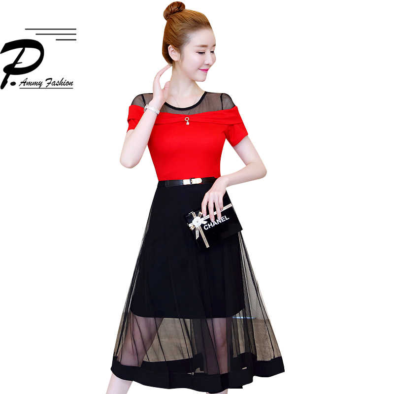 Сетчатые лоскутные платья средней длины женские полосатые платья в горошек с коротким рукавом и поясом Макси длинное платье женские летние вечерние платья 2019