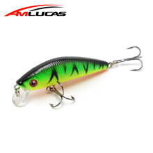 Amlucas 70mm 7.8g Minnow Fishing Lure 3D akys Hard Aritificial Vobleriai Žvejybos reikmenys Crankbait Plastikiniai padėkliukai Pesca WE302