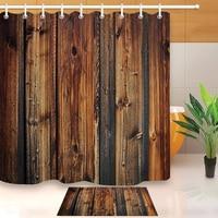 Portas De Madeira do vintage Cortina de Chuveiro Tapete Decorativo Tecido de Poliéster Impermeável Cortina de Banheiro com Ganchos Para Casa de Banho Decoração Cortinas de chuveiro    -
