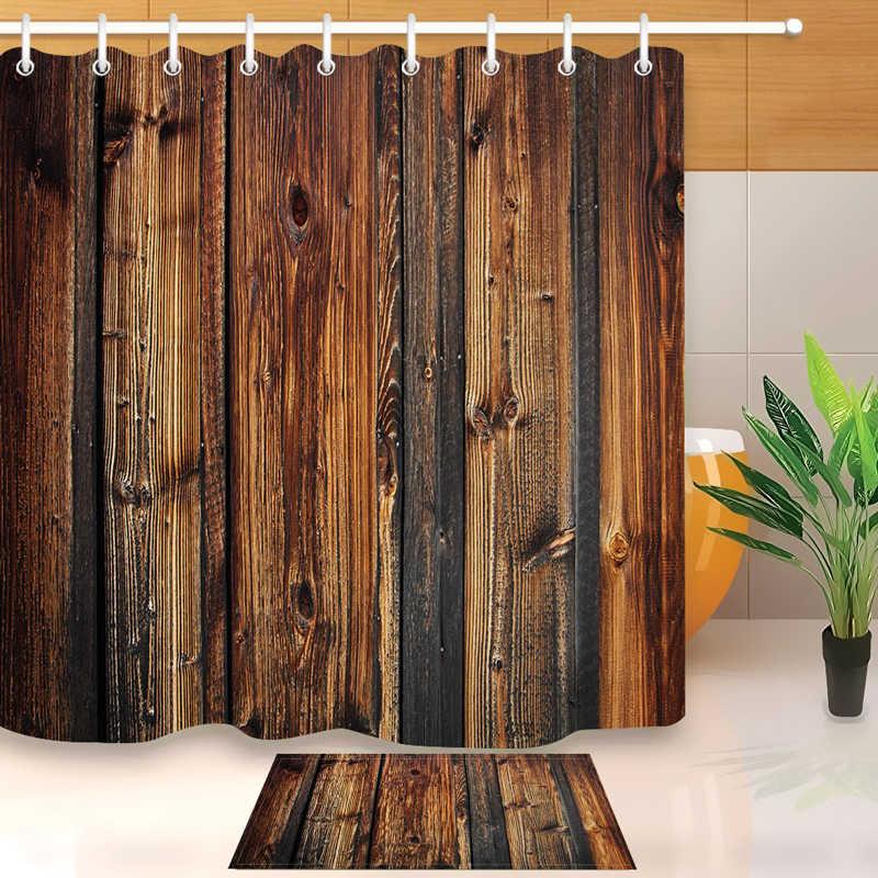Rideau de douche en tissu Polyester   Vintage, portes en bois, rideau décoratif de salle de bains avec crochets, décor de bain de maison