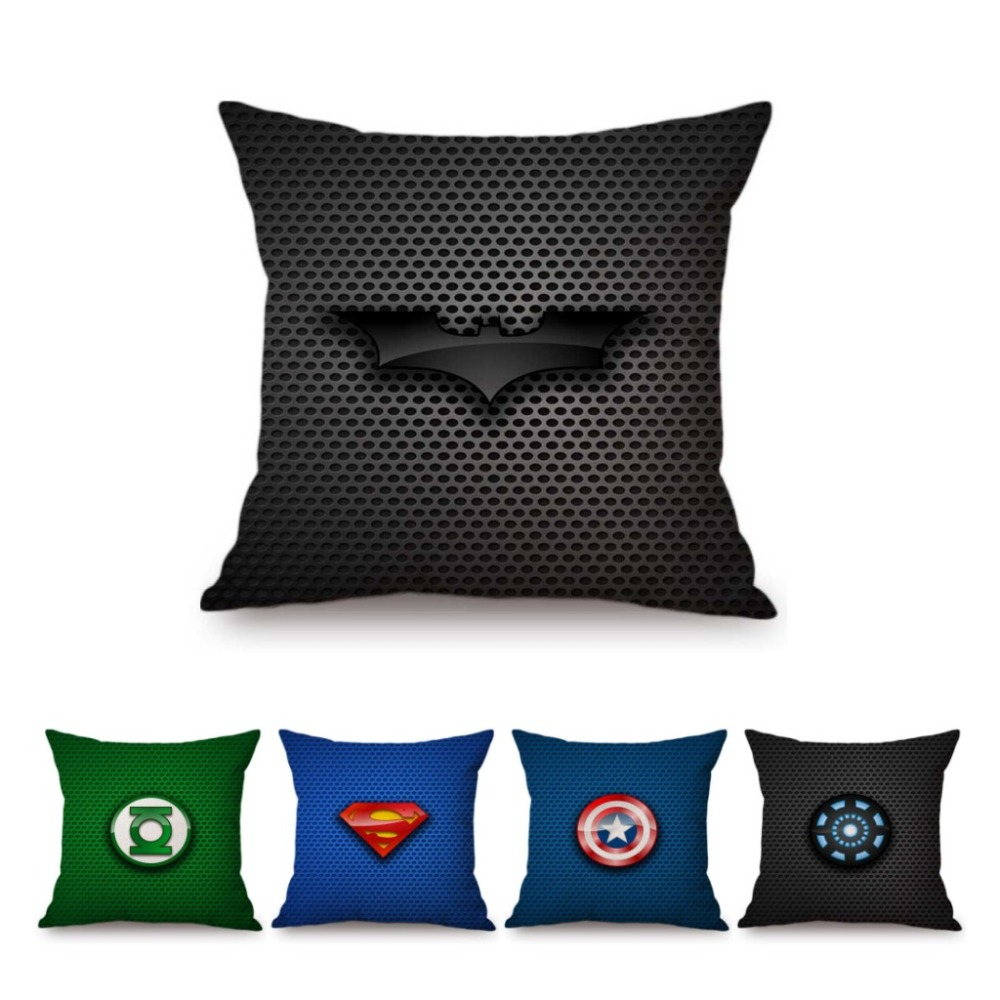 Avengers Batman Superman Logo Decorative Sofa Throw Pillow Super Heroes Symbol Green Lantern Iron Man Linen Car Cushion Pillow
