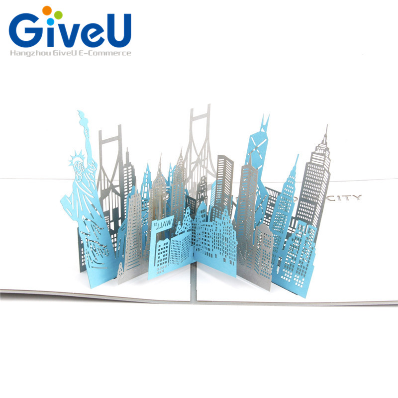 GiveU 1pcs 3D Pop Up NEW YORK CITY Cucoloris Greeting Card With Envelop Birthday Laser Cutting Postcard Kirigami Gifts