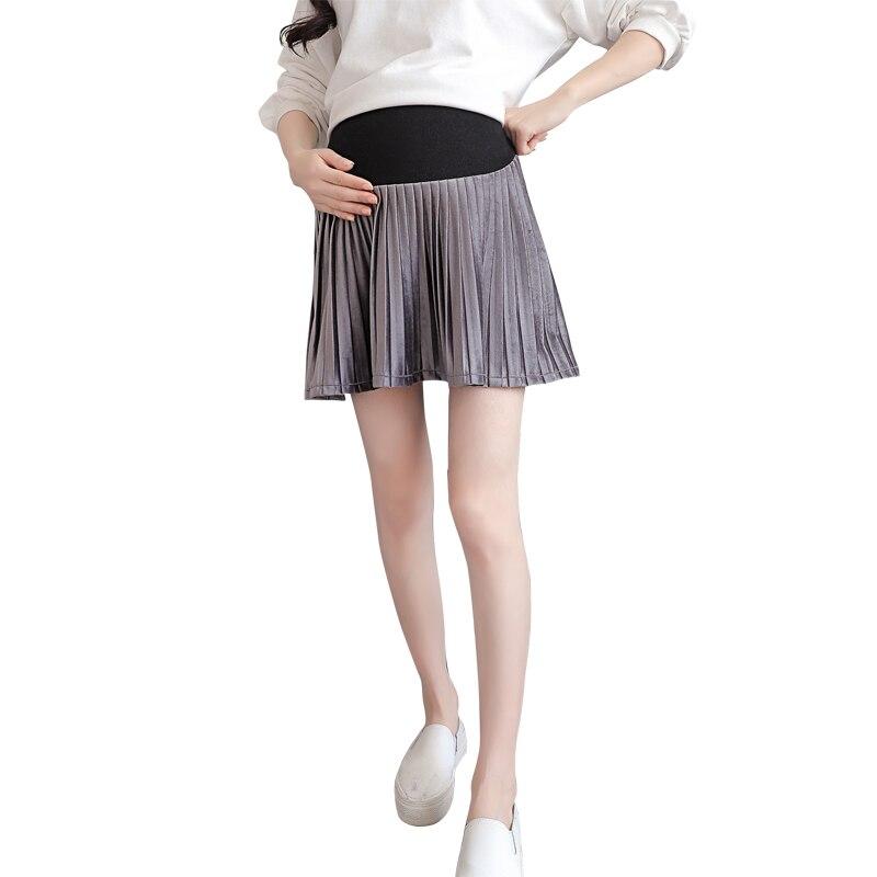 Il Migliore Pengpious Primavera E Di Autunno Di Stile Coreano Donne Incinte A Vita Alta Del Ventre Gonne Di Nuovo Modo Di Maternità A Pieghe Mini Gonne Dolce