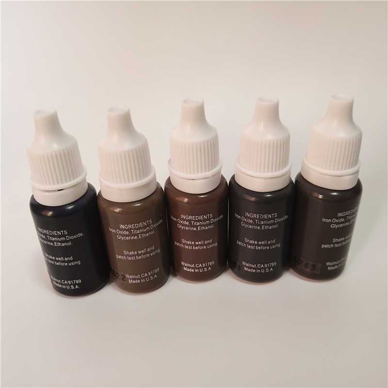 5pcs permanent makeup pigment micropigment tattoo ink 15ml bottle cosmetic manual eyebrow black brown mix color