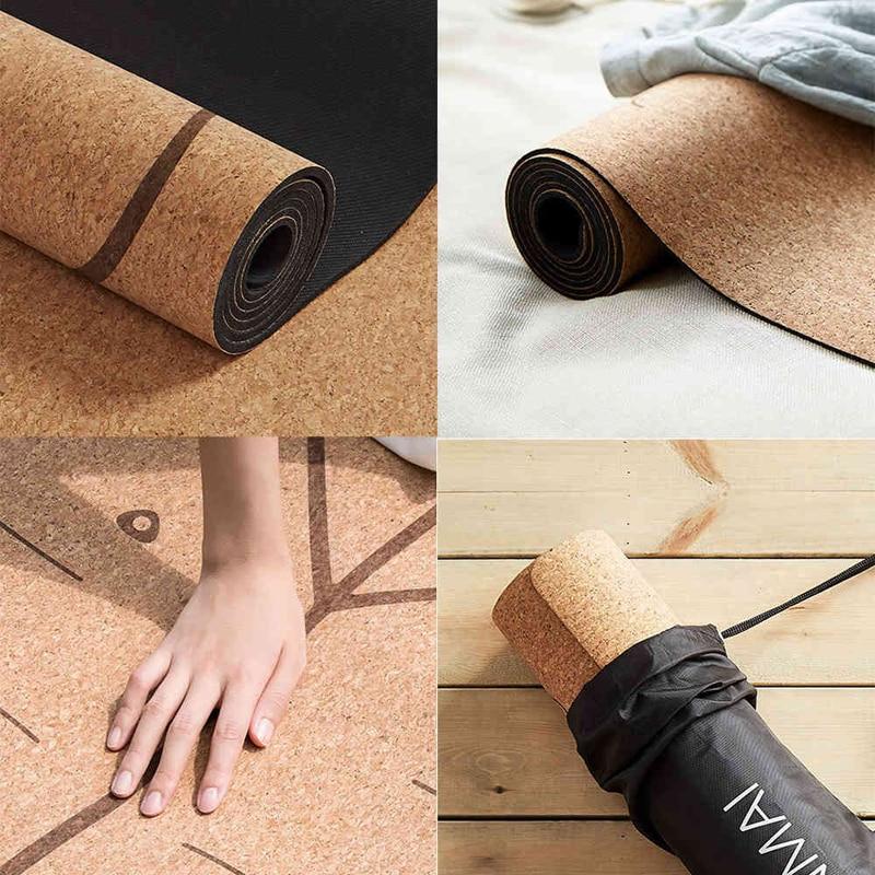 XIAOMI YUNMAI 4mm Natural Rubber Soft Cork Yoga Mat 12