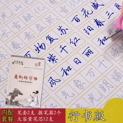 Chinese Idiom Culture Cursive Script Auto Dry Repeat Practice Copybook Calligraphy 3D Groove Cardboard Adult Copy Book Pen Set