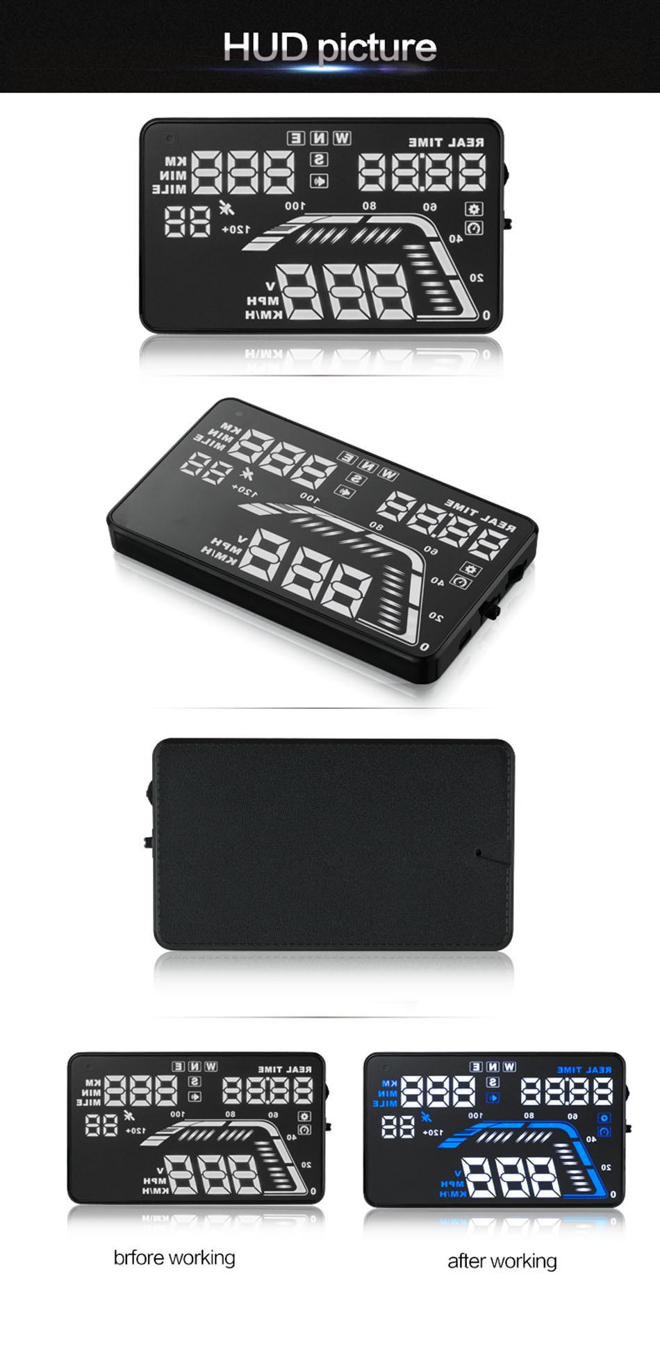 Universal Q7 5.5 Auto Car HUD GPS Head Up Display OBD II 2 Overspeed Warning Alarm Dashboard Windshield Project Speedometers-16
