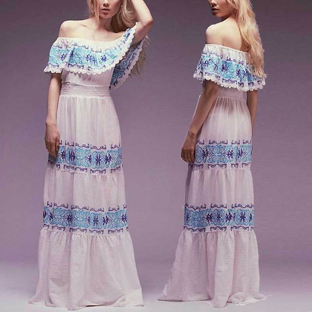 48ee660ca6 Latest 2017 ruffle layered Maxi dress Off Shoulder Umbrella style blue  Embroidery white cotton women party dresses chic vestidos