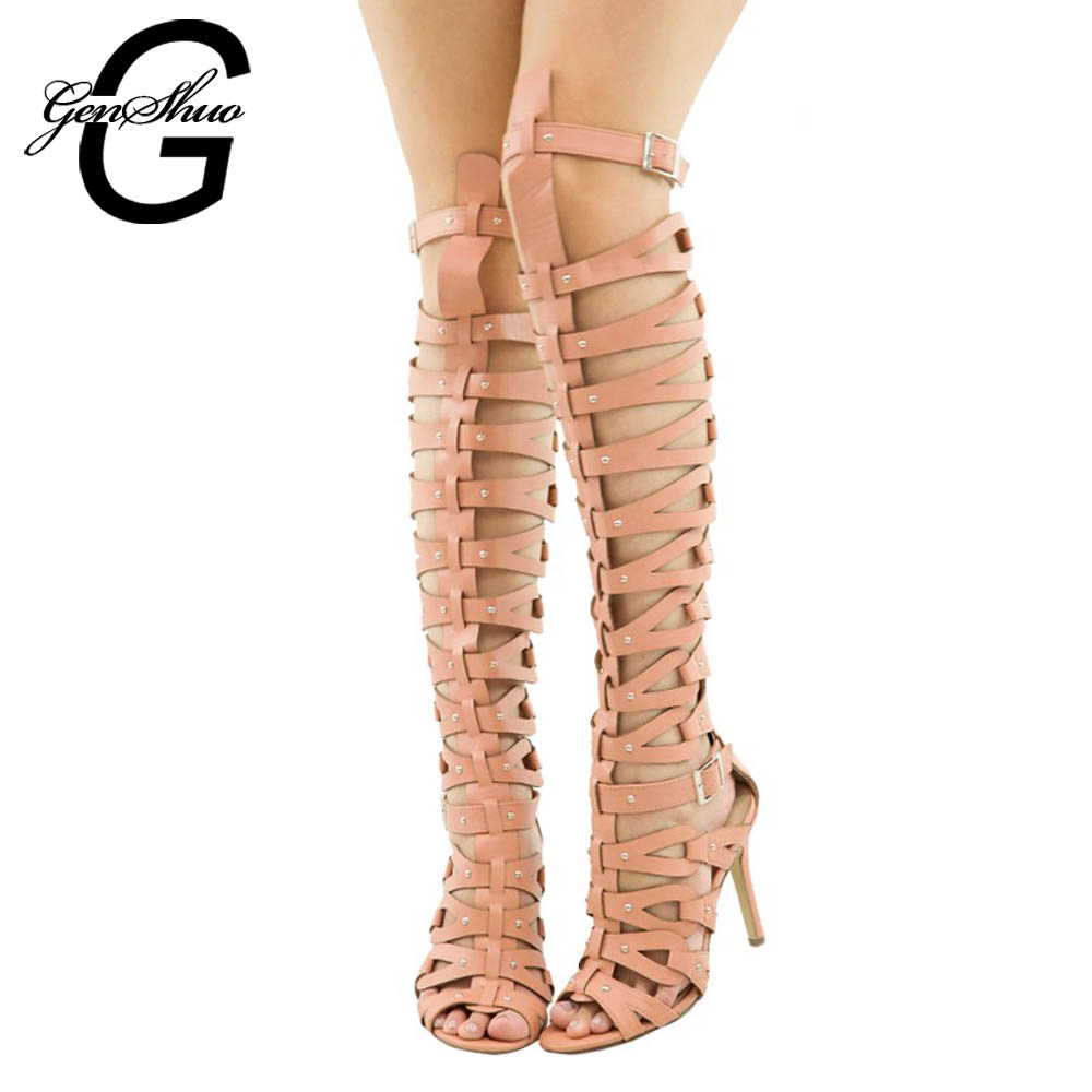 e88e8a38775 Women Gladiator Sandals Summer High Heels Shoes Women Buckle Strap Knee Boot  for Summer White Black 10cm Heel Sandals Size 5 12-in High Heels from Shoes  on ...