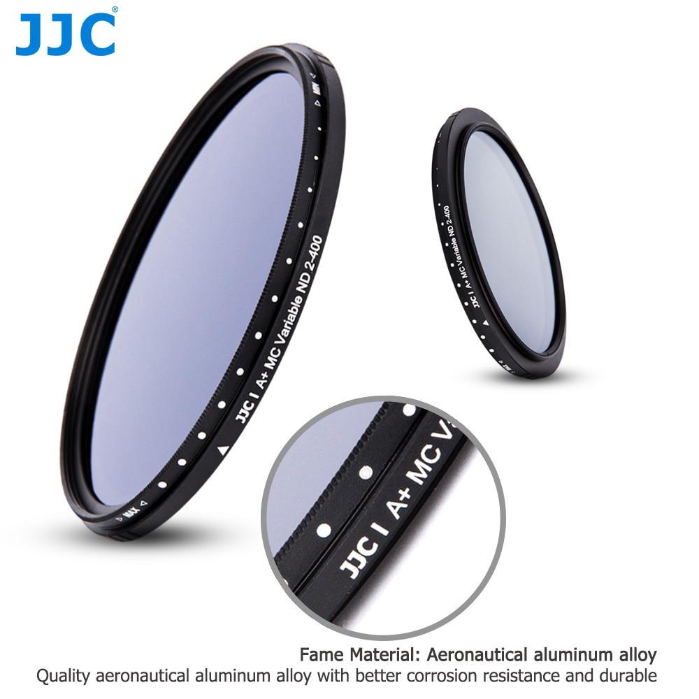 JJC Réglable Densité Neutre Variable ND2 à ND400 Filtre 40.5/43/46/49/52/55 /58/62/67/72/77/82mm Mince Fader ND Lentille filtres