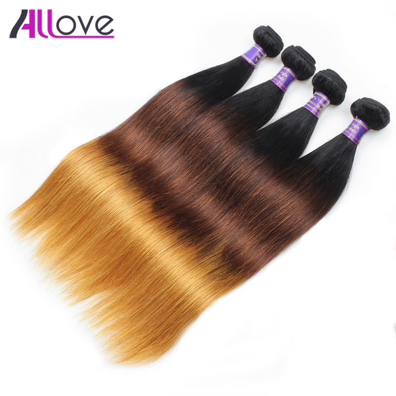 Allove Hair Indian Straight Ombre Hair Three Tone Ombre Human Hair Bundles T1B 4 30 Remy