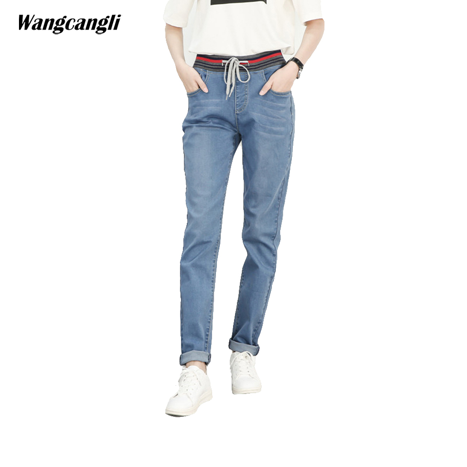 women jeans light blue large size stretch slim jeans elastic waist fashion fat mulher 5XL decoration pockets cowboy wangcangli wangcangli jeans women shorts light blue large size denim fat sister elastic waist mid waist jeans moustache effect summer 4xl
