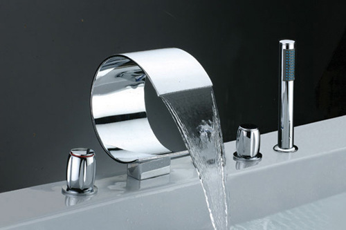 Full three-piece discrete copper waterfall faucet bathtub faucet hot tub faucet split