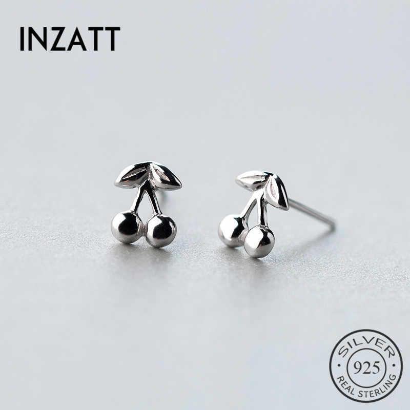 INZATT clásico minimalista Real 925 Sterling Silver Cherry Stud pendientes joyería fina para mujeres cumpleaños fiesta personalidad regalo