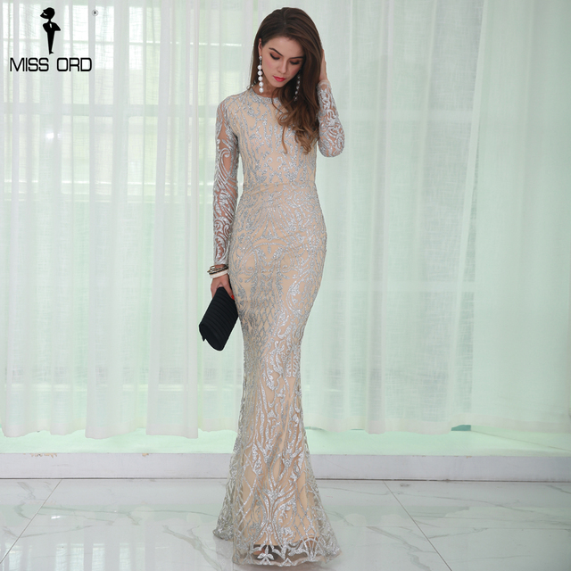 2fc160e67bd34 Missord 2019 Sexy O Neck Long Sleeve Pattern Glitter Maxi Dress FT8520-in  Dresses from Women's Clothing on Aliexpress.com | Alibaba Group