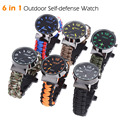 Outdoor 6 in 1 Travel Watch Survival Bracelet With Fire Starter Paracord Compass Whistle Rescue Bracelet Camping Hiking