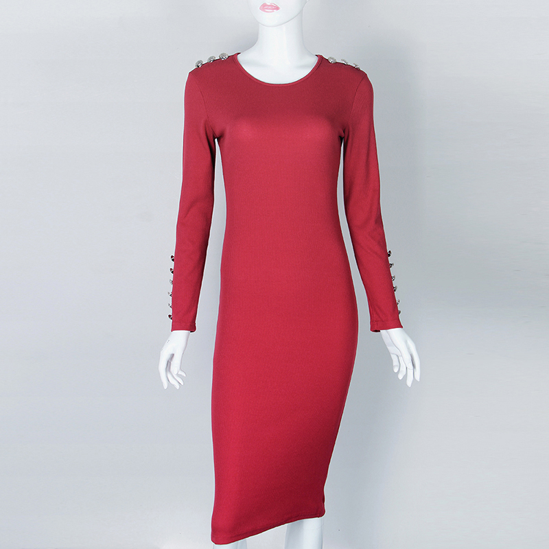 Fashion Women Sexy Bodycon Dress Autumn Winter Knitted Midi Dress Robe Solid Package Hip Long Sleeve Dresses Party Robe GV420