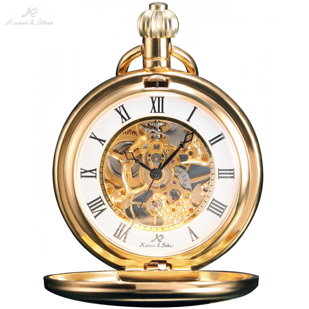 KS Classic Steampunk Watches Hand Winding Vintage Golden Roman Numerals FOBS Pendant Chain Mechanical Pocket Watch Gift / KSP008
