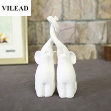 VILEAD Nature Sandstone White Elephant Lovers Figurines Miniatures Wedding Decoration Animal Statuettes Creative Gifts