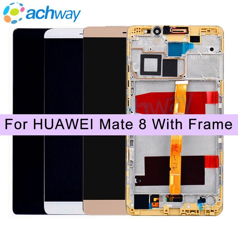 100% Testé Blanc 1920x1080 HUAWEI Compagnon 8 LCD Affichage à L'écran Tactile avec le Cadre Assemblée Digitizer Pour 6.0